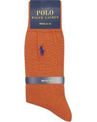 Pink Pony | Orange Merino Wool Flat Knit Socks for Men | Lyst
