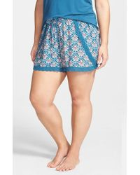 Pj Salvage - Blue 'challe' Print Shorts - Lyst