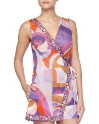 Emilio Pucci - Purple Printed Wrap Coverup Romper - Lyst