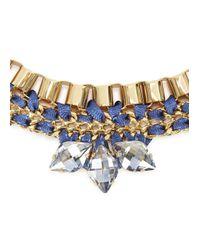 John & Pearl | Blue Meteor Gold Tone Swarovski Necklace | Lyst