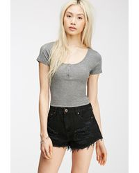 Forever 21 | Gray Henley Crop Top | Lyst