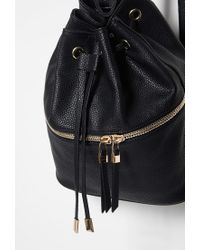 Forever 21 - Black Pebbled Faux Leather Backpack - Lyst