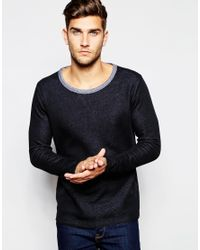 SELECTED | Black Sweatshirt With Contrast Collar & Raw Edge for Men | Lyst