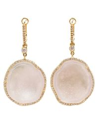 Kimberly Mcdonald | White Diamond 18kt Yellow Gold and Geode Earrings | Lyst