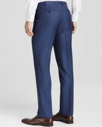 Canali - Blue Tick Weave Firenze Classic Fit Trousers for Men - Lyst