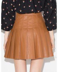 Pixie Market - Brown Leather Pleated Mini Skirt - Lyst