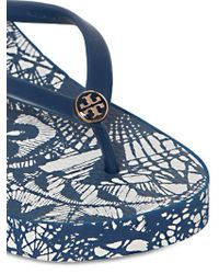 Tory Burch - Blue Crystal-embellished Leather Ballerina Flats - Lyst