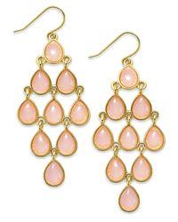 Lauren by Ralph Lauren - Pink Gold-Tone Stone Teardrop Chandelier Earrings - Lyst