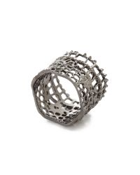 Aurelie Bidermann - Black Vintage Lace Ring - Silver - Lyst