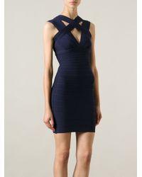 e51b30b2c9a Lyst - Hervé Léger Laurie Bandage Dress in Blue