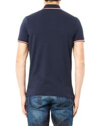 Moncler - Blue Logo-Badge Polo Shirt for Men - Lyst
