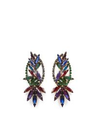 Erickson Beamon | Multicolor 'hyperdrive' Swarovski Crystal Oval Leaf Earrings | Lyst