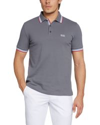 BOSS Green | Gray 'paddy' Polo Shirt In Cotton Piqué for Men | Lyst