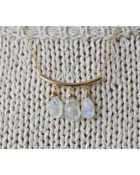 "Peyton William Handmade Jewelry | White 18"" Moonstone Gold Filled Triple Drop Necklace 