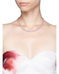 CZ by Kenneth Jay Lane | Pink Graduated Cubic Zirconia Necklace | Lyst