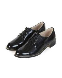 TOPSHOP - Black Frilla Lace Up Shoes - Lyst