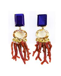 Bounkit | Orange Lapis, Citrine, And Coral Branches Earrings | Lyst