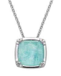Lord & Taylor | Blue Sterling Silver Necklace With Amazonite And Diamond Pendant | Lyst