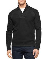 Calvin Klein | Black Shawl Collar Shirt for Men | Lyst