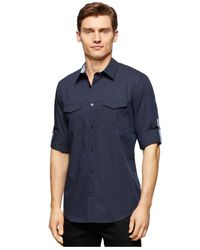 Calvin Klein | Blue Two-pocket Roll-up-sleeve Shirt for Men | Lyst