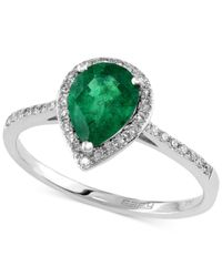 Effy Collection | Metallic Brasilica By Effy Emerald (9/10 Ct. T.w.) And Diamond (1/6 Ct. T.w.) Pear-shaped Ring In 14k White Gold | Lyst