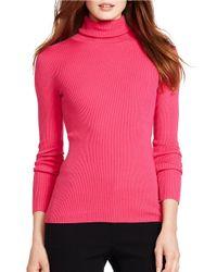 Lauren by Ralph Lauren | Pink Petite Ribbed Turtleneck Sweater | Lyst