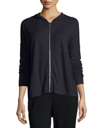 Eileen Fisher - Blue Hooded Cotton-cashmere Shaped Cardigan - Lyst
