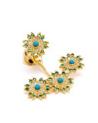 Yvonne Léon   Blue Yvonne Léon 18kt Gold Triple Flower Lobe Earring   Lyst