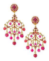 Jose & Maria Barrera - Pink Chandelier Drop Earrings - Lyst