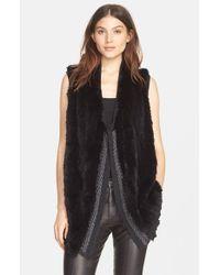 Vince | Black Sweater-Back Rabbit-Fur Vest | Lyst