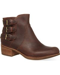 UGG - Brown Volta Leather Ankle Boots - Lyst