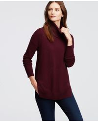 Ann Taylor | Purple Cashmere Turtleneck Tunic Sweater | Lyst