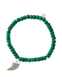 Sydney Evan | Green 6Mm Faceted Emerald Beaded Bracelet With 14K Gold/Diamond Medium Horn Charm (Made To Order) | Lyst