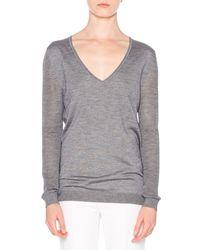 Callens - Gray Cashmere-blend V-neck Sweater - Lyst