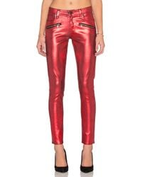 PAIGE | Red Indio Zip Ultra Skinny | Lyst