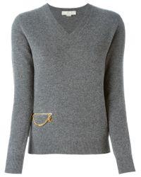 Stella McCartney - Gray Chain Detail Sweater - Lyst