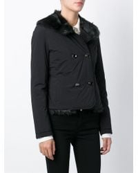 Emporio Armani - Black Faux-Fur Double-Breasted Jacket - Lyst