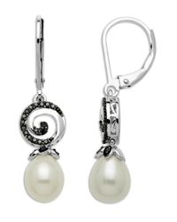 Lord & Taylor | Metallic Sterling Silver And Freshwater Pearl Drop Earrings With Diamonds | Lyst