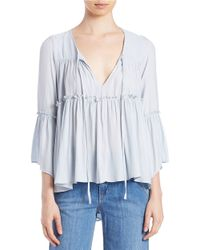Free People | Blue Favorite Things Chiffon Blouse | Lyst