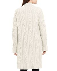 Lauren by Ralph Lauren | Natural Cable-knit Open-front Cardigan | Lyst