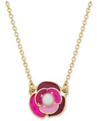 Kate Spade | Pink Gold-Tone Faux Pearl And Enamel Flower Pendant Necklace | Lyst