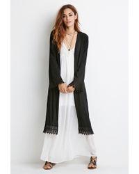Forever 21 - Black Crochet-trimmed Longline Kimono - Lyst