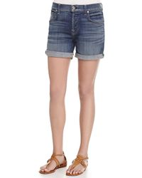7 For All Mankind - Blue Relaxed-Fit Denim Shorts - Lyst