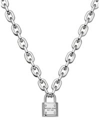 Michael Kors | Metallic Silvertone Padlock Pendant Necklace | Lyst