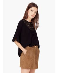 Mango - Black Blonda Panel Blouse - Lyst