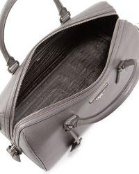 Prada - Gray Saffiano Lux Bowler Bag with Strap - Lyst