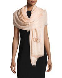 Ferragamo | Pink Sequin-logo Voile Shawl | Lyst