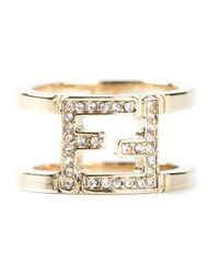 Fendi | Metallic Double Band Ring | Lyst