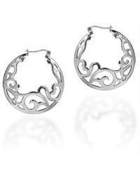 Aeravida | Metallic Delicate Filigree Swirl .925 Silver Hoop Earrings | Lyst