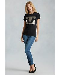 True Religion | Black Hand Picked Horseshoe Foil Womens Tee | Lyst